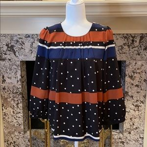 Jade Polka Dot Stripe Pleated Front Blouse Size SM
